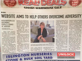 Etobicoke Guardian, article on RESILIENT PEOPLE, Janet Fanaki of RESILIENT PEOPLE, overcoming adversity, interviews with resilient people